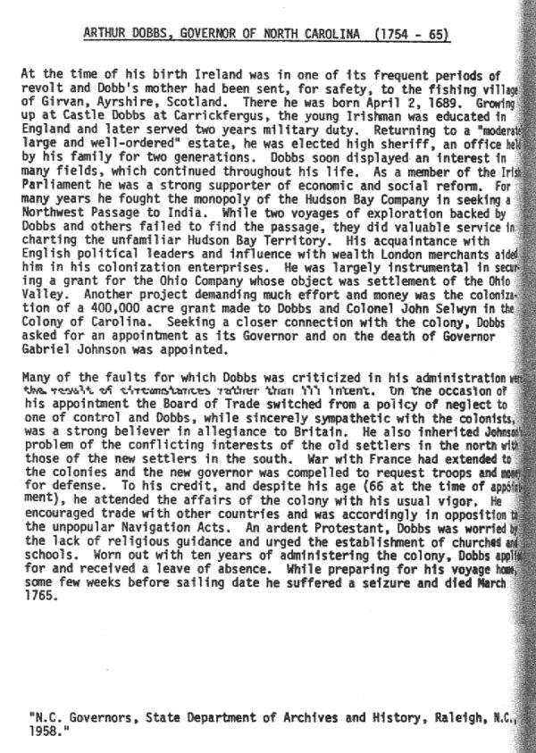 More On Arthur Dobbs